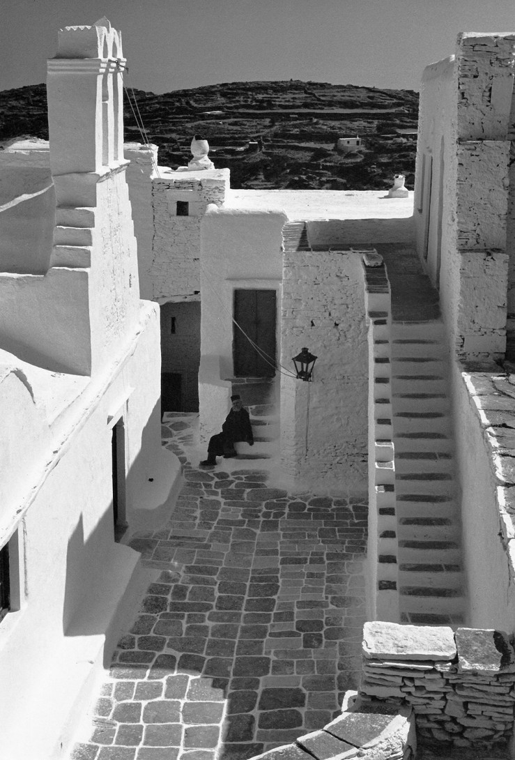 Karl Stadler - Courtyard with Hermit Monk, Vrisi Monastery, Sifnos (1964)
